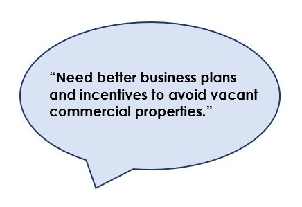 Need better business plans and incentives to avoid vacant properties.