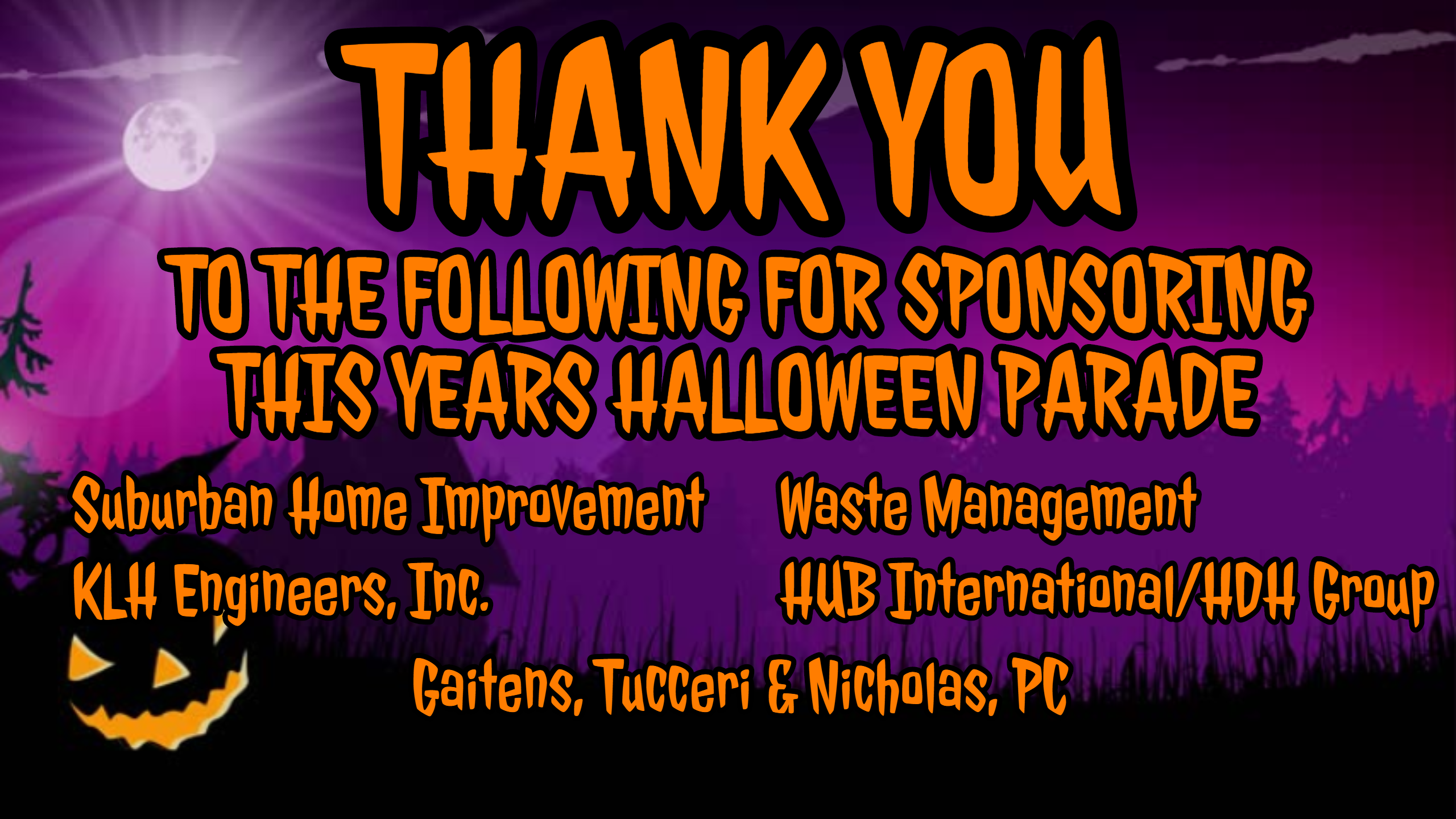 Halloween Parade Thank You to Business Sponsors
