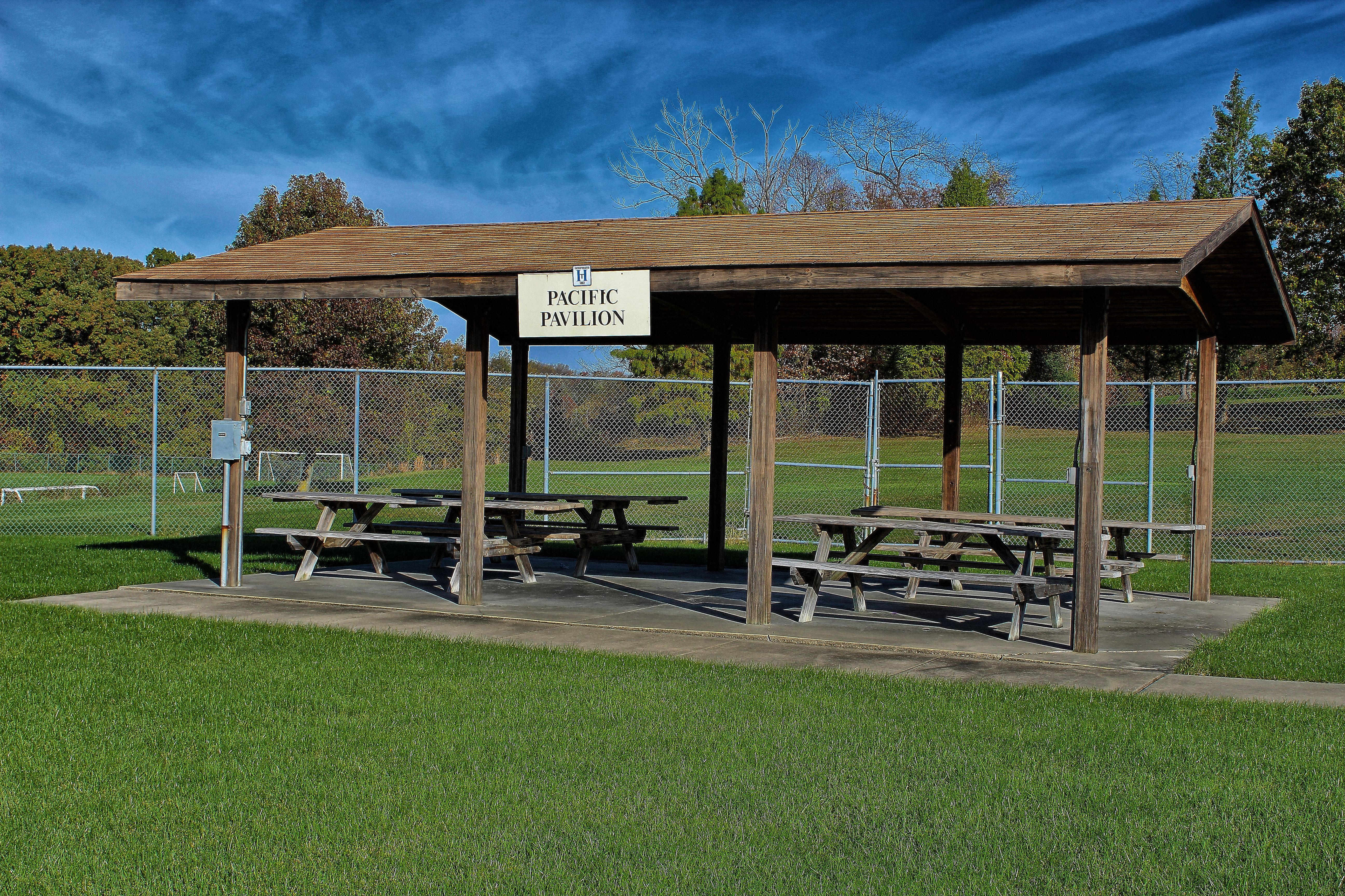 wooden pool picnic shelter
